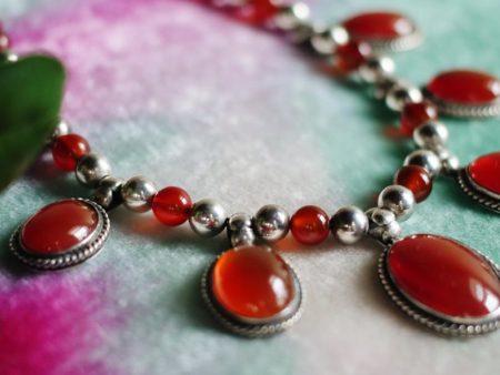 2019-Carnelian-Silver-Bead-Necklace-French-Hook-Earrings-1