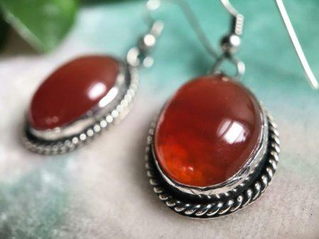 2019-Carnelian-Silver-Bead-Necklace-French-Hook-Earrings-5