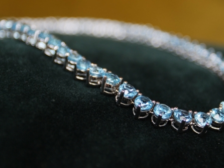 Blue Topaz Tennis Necklace