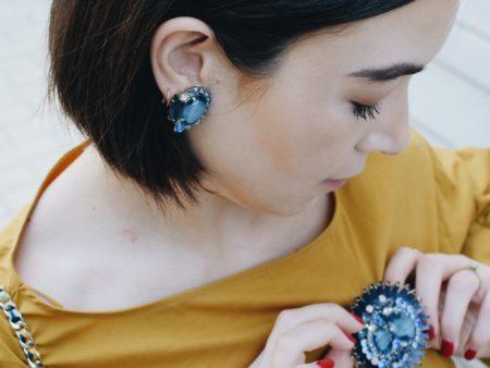 Juliana Jewelry Blue Rhinestone Earring and Brooch Set
