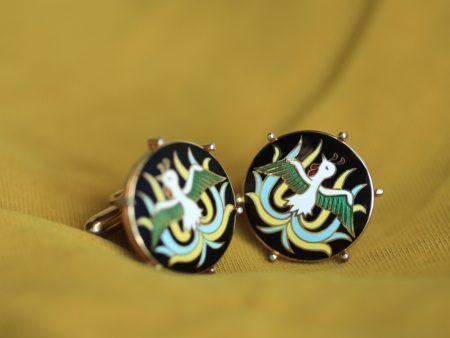 Swank enamel exotic bird cufflinks