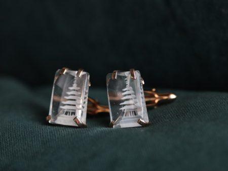 Swank Australian Crystal Pagoda Cufflinks