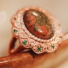 Vintage Unakite Russian Chrome Diopside Copper Ring size 7