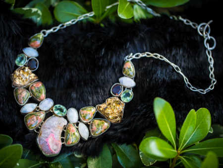 Druzy Moostone Unakite Quartz Necklace