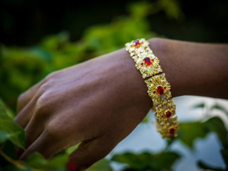 Gold Ruby Flower Bracelet