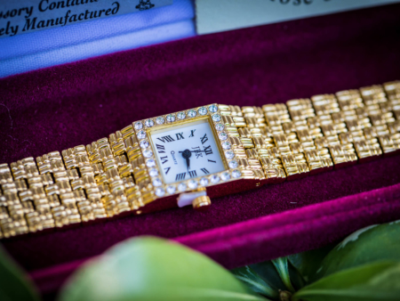 Gold Tone Watch with Swarovski Crystals