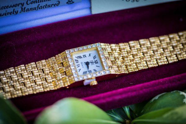 Gold Tone Watch with Swarovski Crystals
