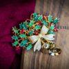 Vintage Christmas Holly Brooch