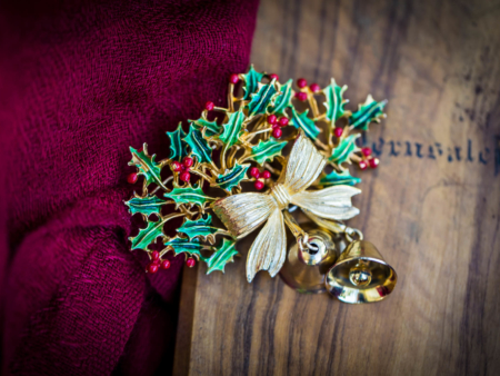 Vintage Christmas Holly Brooch