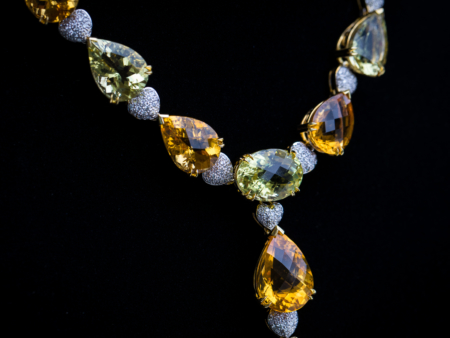 18k Yellow Gold Pear Pave Diamond, Citrine & Lemon Quartz Statement Necklace Leon's Beverly Hills