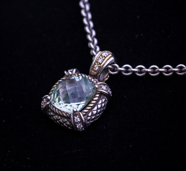 Andrea Candela 18kt Gold and Sterling Silver Checkerboard Cut Green Quartz and Diamond Pendant Leon's Beverly Hills
