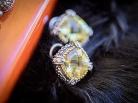 Andrea Candela 18k Yellow Gold and Sterling Silver Green Quartz and Citrine Checkerboard Cut Earrings Leon's Beverly Hills