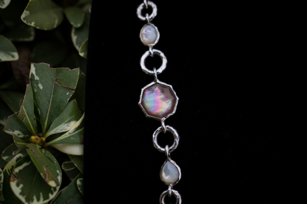 Ippolita Sterling Silver Stationed Necklace with Mother of Pearl and Clear Quartz
