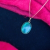 Vintage Eilat Stone Pendant Sterling 925 Gold Plated Necklace from Israel