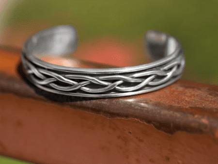 oxidized braided cuff bracelet
